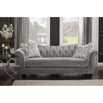 Furniture of America IDF-2225-SF Dora Traditional Tufted Sofa in Dolphin Gray