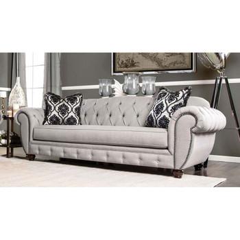 Furniture of America IDF-2291-SF Oscar Transitional Tufted Sofa in Gray