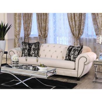 Furniture of America IDF-2292-SF Oscar Transitional Tufted Sofa in Beige
