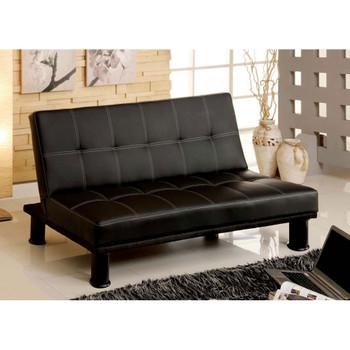 Furniture of America IDF-2394 Fickel Contemporary Faux Leather Tufted Futon