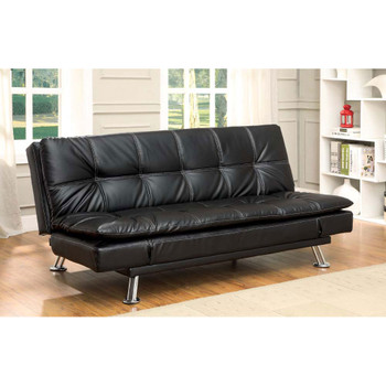 Furniture of America IDF-2677BK Vail Contemporary Faux Leather Tufted Futon