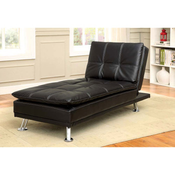 Furniture of America IDF-2677BK-CE Vail Contemporary Faux Leather Tufted Chaise