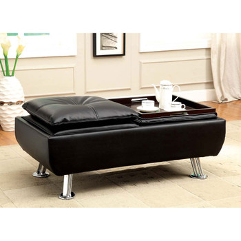 Furniture of America IDF-2677BK-OT Vail Contemporary Faux Leather 2-Tray Ottoman
