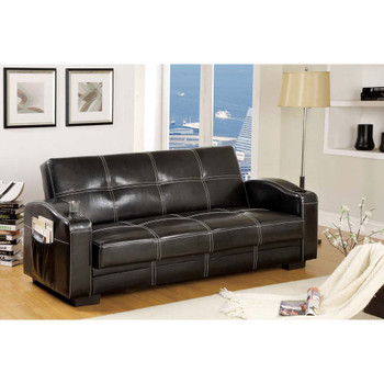 Furniture of America IDF-2690 Cluney Contemporary Faux Leather 2-Tray Futon