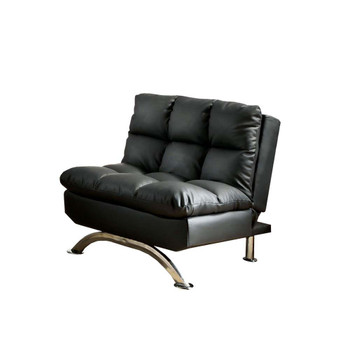 Furniture of America IDF-2906BK-CH Bulee Contemporary Faux Leather Tufted Chair in Black
