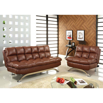 Furniture of America IDF-2906CH Bulee Contemporary Faux Leather Tufted Chair in Saddle Brown