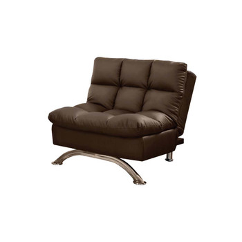 Furniture of America IDF-2906DK-CH Bulee Contemporary Faux Leather Tufted Chair in Dark Brown