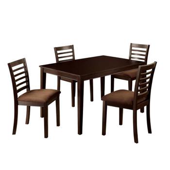 Furniture of America IDF-3001T-5PK Landon Transitional 5-Piece Solid Wood Dining Set