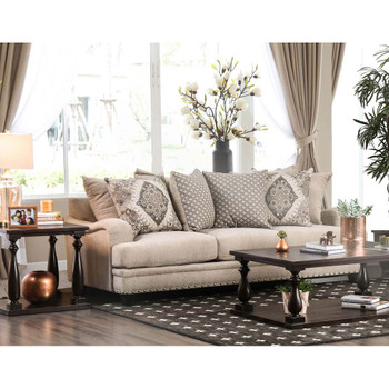 Furniture of America IDF-3074-SF Troy Contemporary Upholstered Sofa