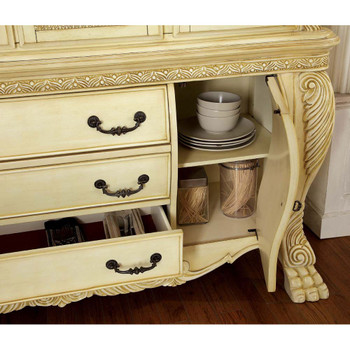 Furniture of America IDF-3186WH-HB Beau Traditional Multi-Storage Hutch and Buffet in Vintage White