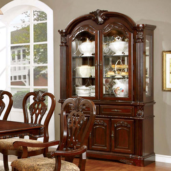 Furniture of America IDF-3212HB Clay Traditional Multi-Storage Hutch and Buffet