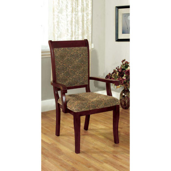 Furniture of America IDF-3224AC Nick Traditional Padded Arm Chairs (Set of 2)