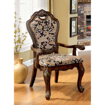 Furniture of America IDF-3243AC Parson Traditional Padded Arm Chairs (Set of 2)