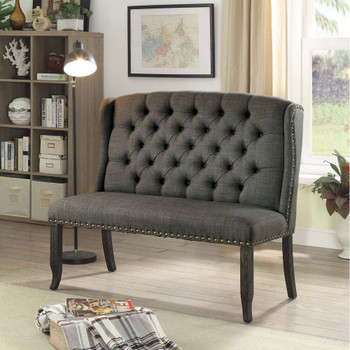 Furniture of America IDF-3324BK-GY-BN Lubbers Rustic Button Tufted Loveseat Bench