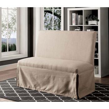 Furniture of America IDF-3341BG-LV Cullen Rustic Upholstered Loveseat in Beige