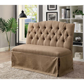 Furniture of America IDF-3342BR-LV Berta Transitional Button Tufted Loveseat Bench in Brown