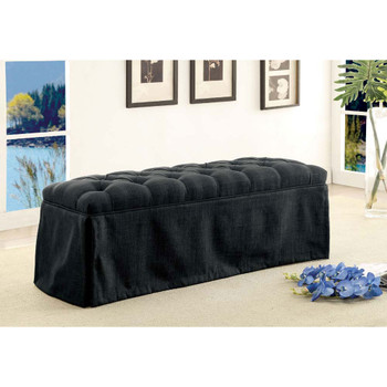 Furniture of America IDF-3342DG-BN Berta Transitional Button Tufted Bench in Dark Gray