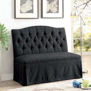 Furniture of America IDF-3342DG-LV Berta Transitional Button Tufted Loveseat in Dark Gray