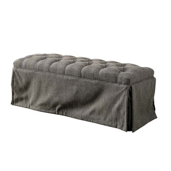 Furniture of America IDF-3342GY-BN Berta Transitional Fabric Button Tufted Bench in Gray