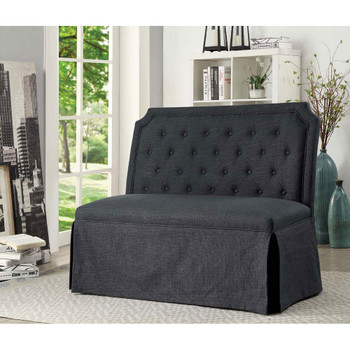 Furniture of America IDF-3343GY-LV Ulric Transitional Button Tufted Loveseat