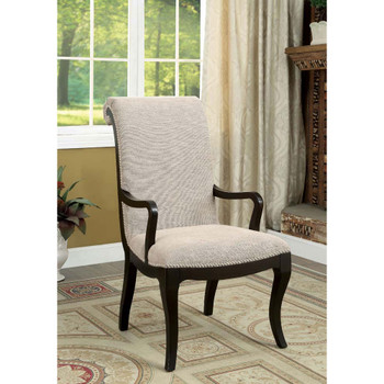 Furniture of America IDF-3353AC Denise Transitional Padded Arm Chairs (Set of 2)