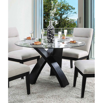 Furniture of America IDF-3393RT Hazmina Contemporary Glass Top Dining Table