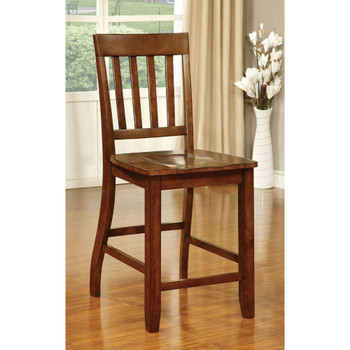 Furniture of America IDF-3437PC Monte Transitional Slatted Back Counter Height Chairs (Set of 2)