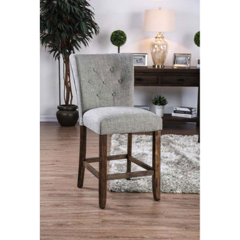 Furniture of America IDF-3450GY-PC Pierson Transitional Button Tufted Counter Height Chairs in Gray (Set of 2)