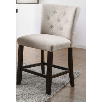 Furniture of America IDF-3450PC Pierson Transitional Button Tufted Counter Height Chairs in Ivory (Set of 2)