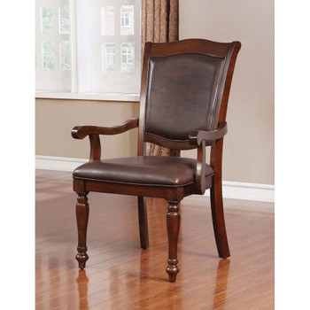 Furniture of America IDF-3453AC Alder Traditional Padded Arm Chairs (Set of 2)