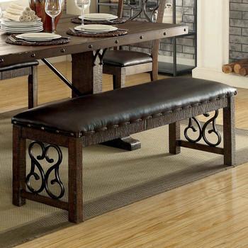Furniture of America IDF-3465BN Paula Traditional Padded Bench