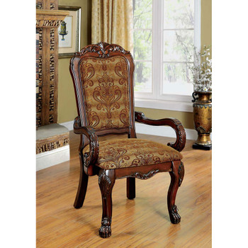 Furniture of America IDF-3557CH-AC Ellas Traditional Padded Arm Chairs (Set of 2)