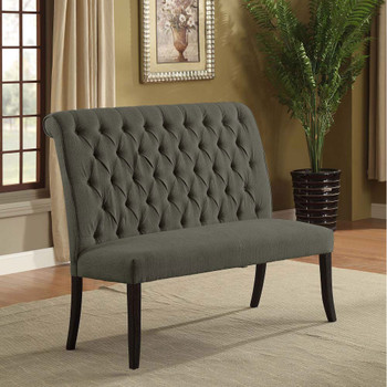 Furniture of America IDF-3564GY-BN Gracie Transitional Button Tufted Dining Bench in Gray