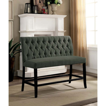 Furniture of America IDF-3564GY-PBN Gracie Transitional Button Tufted Dining Bench