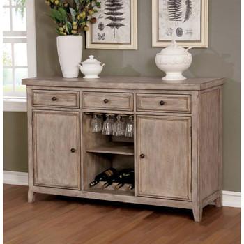 Furniture of America IDF-3577SV Miller Rustic Wood Multi-Storage Server
