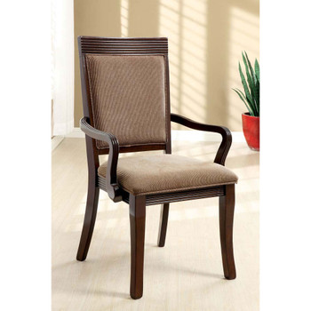 Furniture of America IDF-3663AC Evelyn Contemporary Padded Arm Chairs (Set of 2)