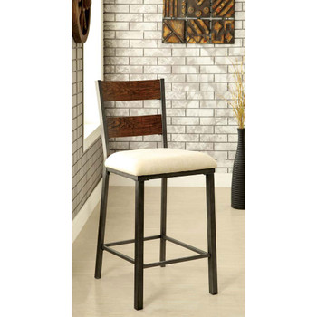 Furniture of America IDF-3686PC Coss Industrial Padded Counter Height Chairs (Set of 2)