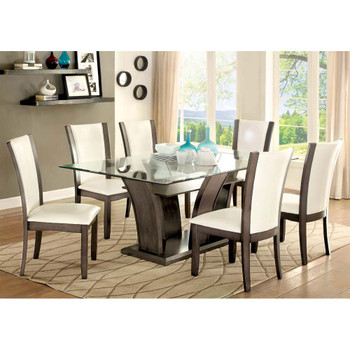 Furniture of America IDF-3710GY-T Sorell Contemporary Glass Top Dining Table