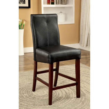 Furniture of America IDF-3824PC Wolfson Contemporary Faux Leather Upholstered Counter Height Chairs (Set of 2)