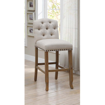Furniture of America IDF-3829F-BC Lyon Cottage Button Tufted Dining Chairs in Beige (Set of 2)