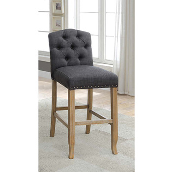 Furniture of America IDF-3829F-GY-BC Lyon Cottage Button Tufted Dining Chairs in Dark Gray (Set of 2)