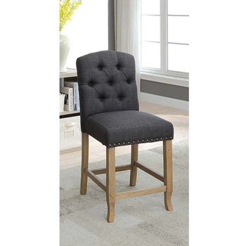 Furniture of America IDF-3829F-GY-PC Lyon Cottage Button Tufted Counter Height Chairs in Dark Gray (Set of 2)