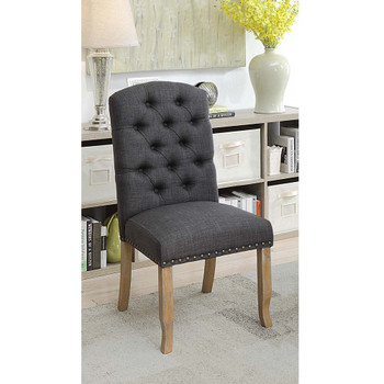 Furniture of America IDF-3829F-GY-SC Lyon Cottage Button Tufted Side Chairs (Set of 2)