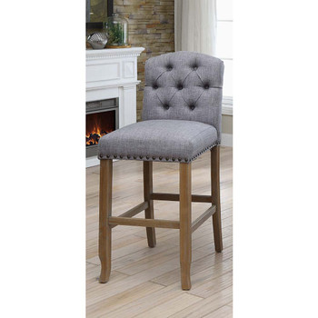 Furniture of America IDF-3829F-LG-BC Lyon Cottage Button Tufted Dining Chairs in Gray (Set of 2)