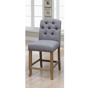 Furniture of America IDF-3829F-LG-PC Lyon Cottage Button Tufted Counter Height Chairs in Gray (Set of 2)