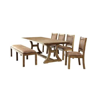 Furniture of America IDF-3829T-6PC Lyon Cottage 6-Piece Wood Dining Set