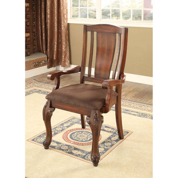 Furniture of America IDF-3873AC Hannah Traditional Padded Arm Chairs (Set of 2)
