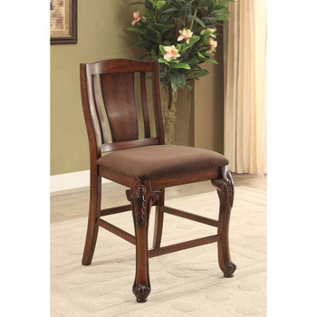 Furniture of America IDF-3873PC Hannah Traditional Padded Counter Height Chairs (Set of 2)