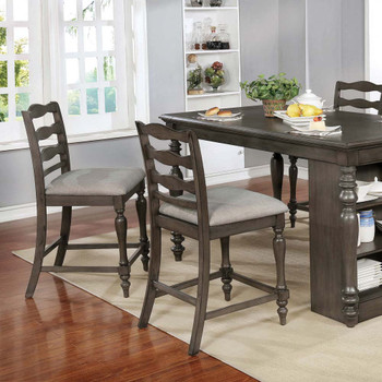 Furniture of America IDF-3912GY-PC Earnest Rustic Padded Counter Height Chairs in Gray (Set of 2)