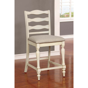 Furniture of America IDF-3912PC Earnest Rustic Padded Counter Height Chairs in White (Set of 2)